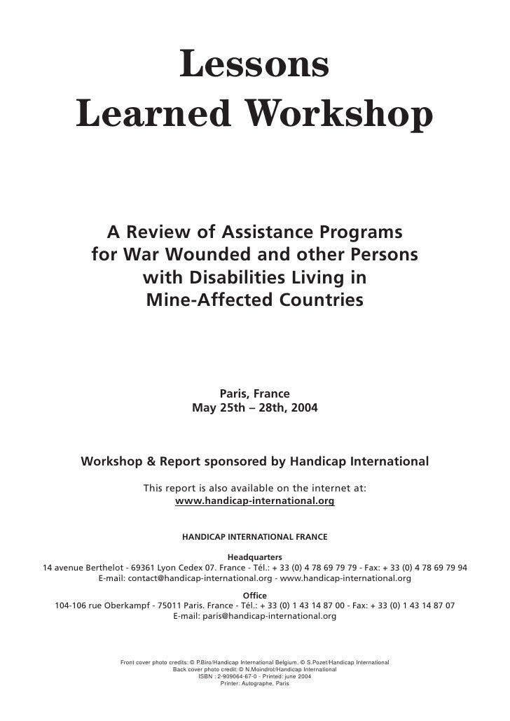 Lessons         Learned Workshop                A Review of Assistance Programs             for War Wounded and other Pers...