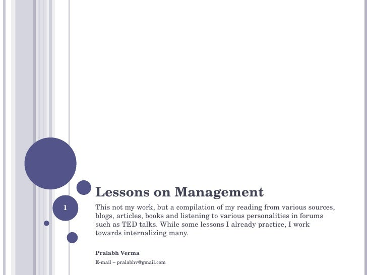 Lessons On Management