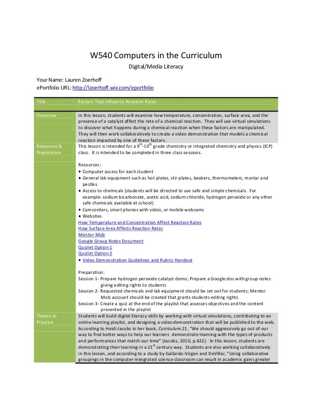 W540 Computers in the Curriculum                                           Digital/Media LiteracyYour Name: Lauren Zoerhof...