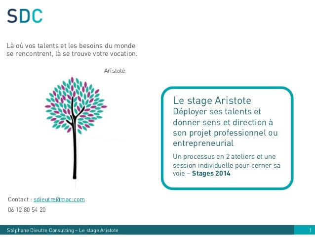 Stéphane Dieutre Consulting – Le stage Aristote Contact : sdieutre@mac.com 06 12 80 54 20 1 Le stage Aristote Déployer ses...