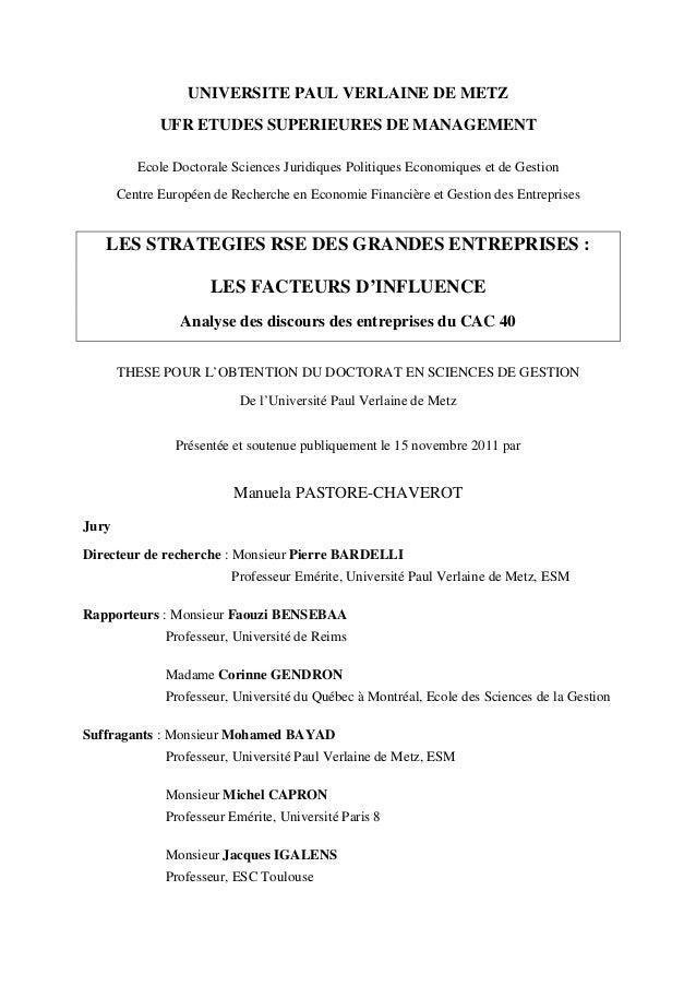 UNIVERSITE PAUL VERLAINE DE METZ UFR ETUDES SUPERIEURES DE MANAGEMENT Ecole Doctorale Sciences Juridiques Politiques Econo...