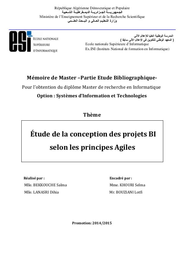 Mémoire de Master –Partie Etude Bibliographique- Pour l'obtention du diplôme Master de recherche en Informatique Option : ...