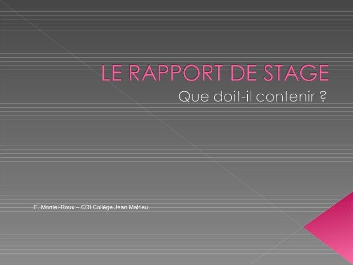 E. Montel-Roux – CDI Collège Jean Malrieu