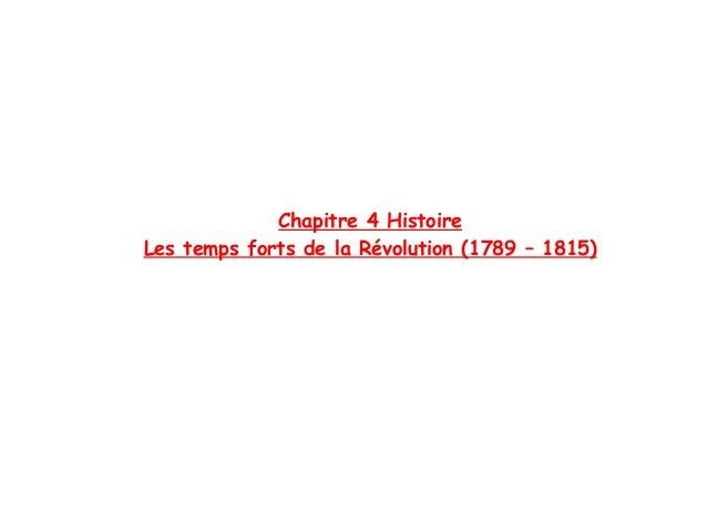 Chapitre 4 HistoireLes temps forts de la Révolution (1789 – 1815)
