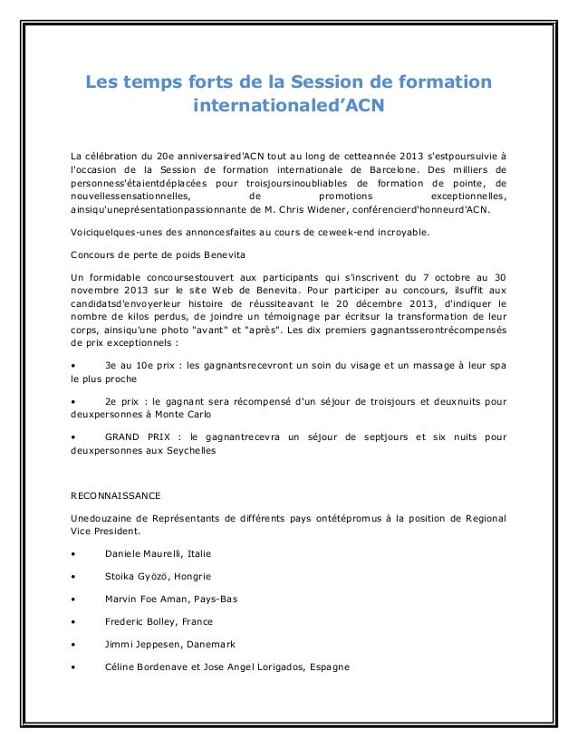 Les temps forts de la session de formation internationaled'acn