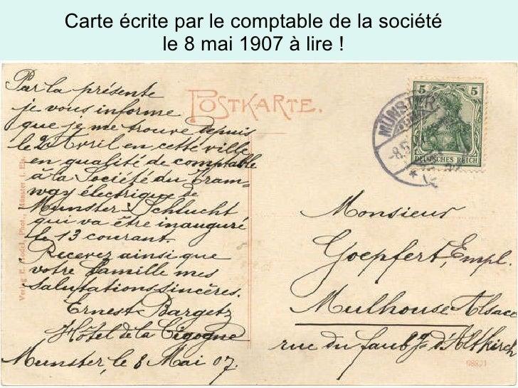 Carte écrite par le comptable de la société  le 8 mai 1907 à lire !