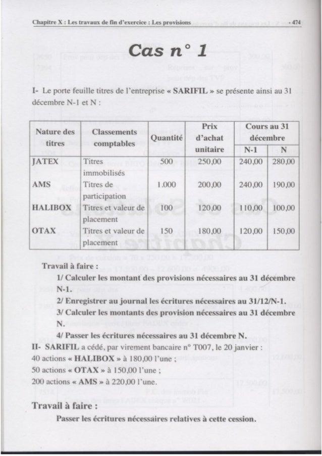 Les travaux de fin d'exercice  les provisions cas n 1
