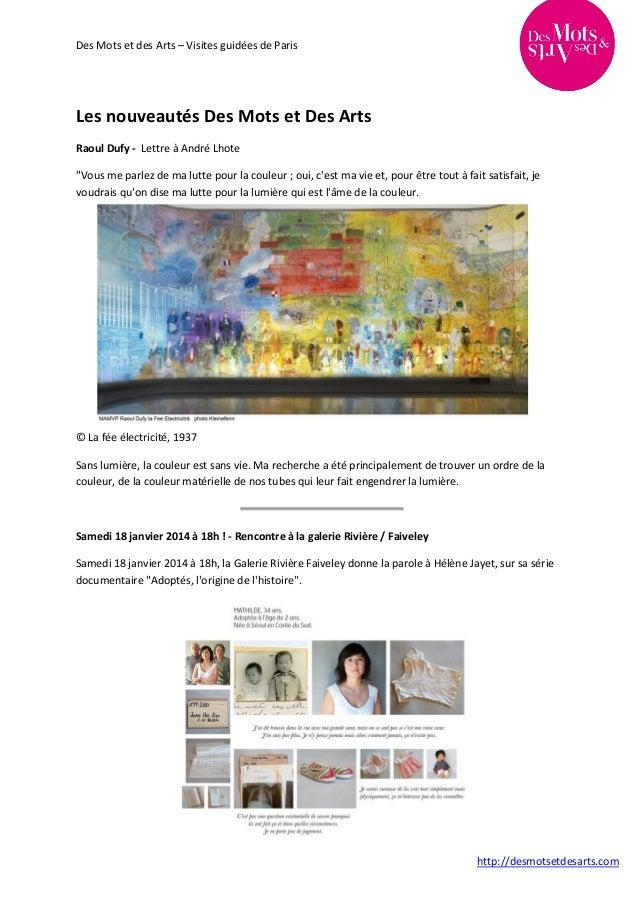 """Des Mots et des Arts – Visites guidées de Paris  Les nouveautés Des Mots et Des Arts Raoul Dufy - Lettre à André Lhote """"Vo..."""