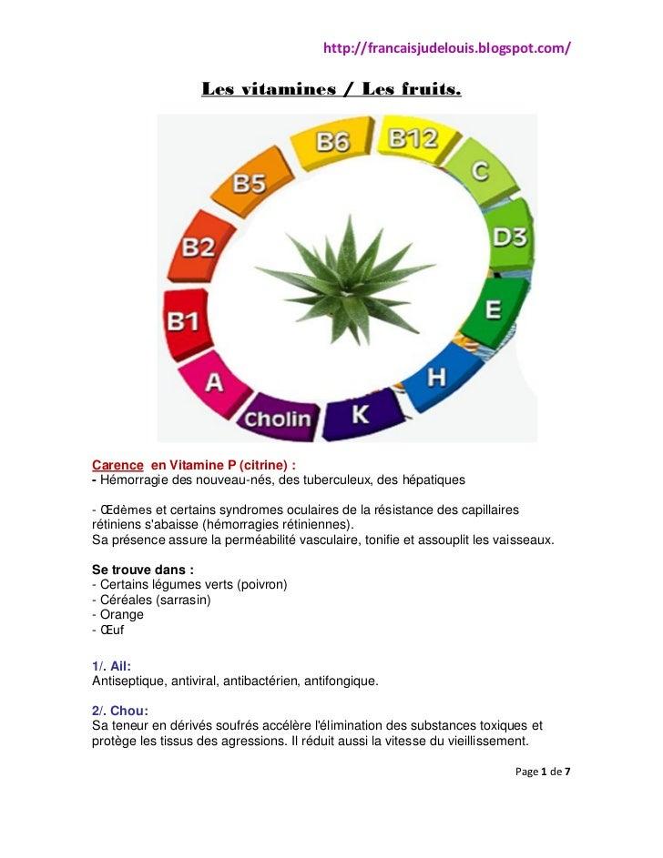 http://francaisjudelouis.blogspot.com/                    Les vitamines / Les fruits.Carence en Vitamine P (citrine) :- Hé...