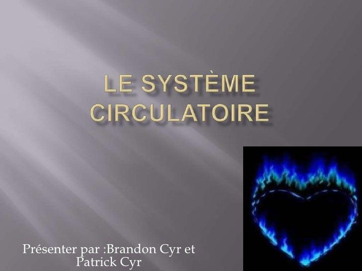 Le SYSTÈME Circulatoire<br />Présenter par :Brandon Cyr et Patrick Cyr<br />