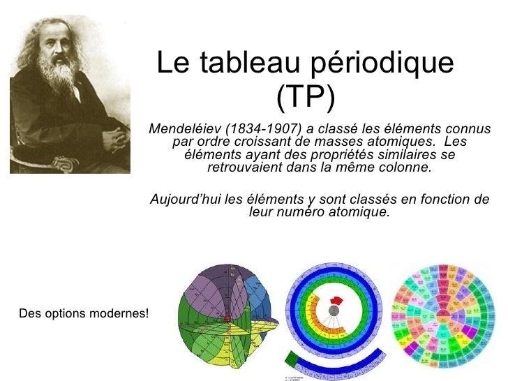 Le tableau périodique (TP) Mendeléiev (1834-1907) a classé les éléments connus par ordre croissant de masses atomiques.  L...