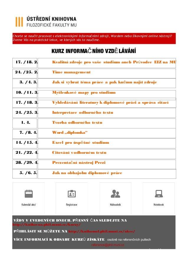 Kurz informačního vzdělávání - jaro 2015