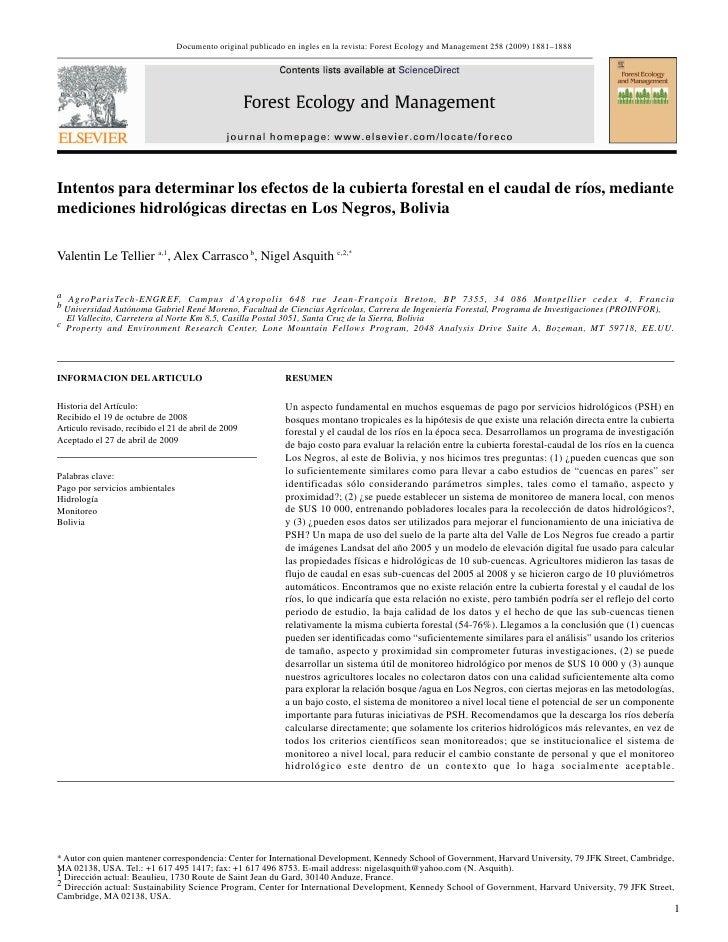 Documento original publicado en ingles en la revista: Forest Ecology and Management 258 (2009) 1881–1888     Intentos para...