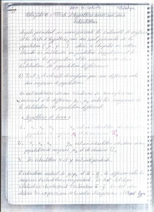 Le teste d'hypothése basé sur 2 échantillons (prise de notes)