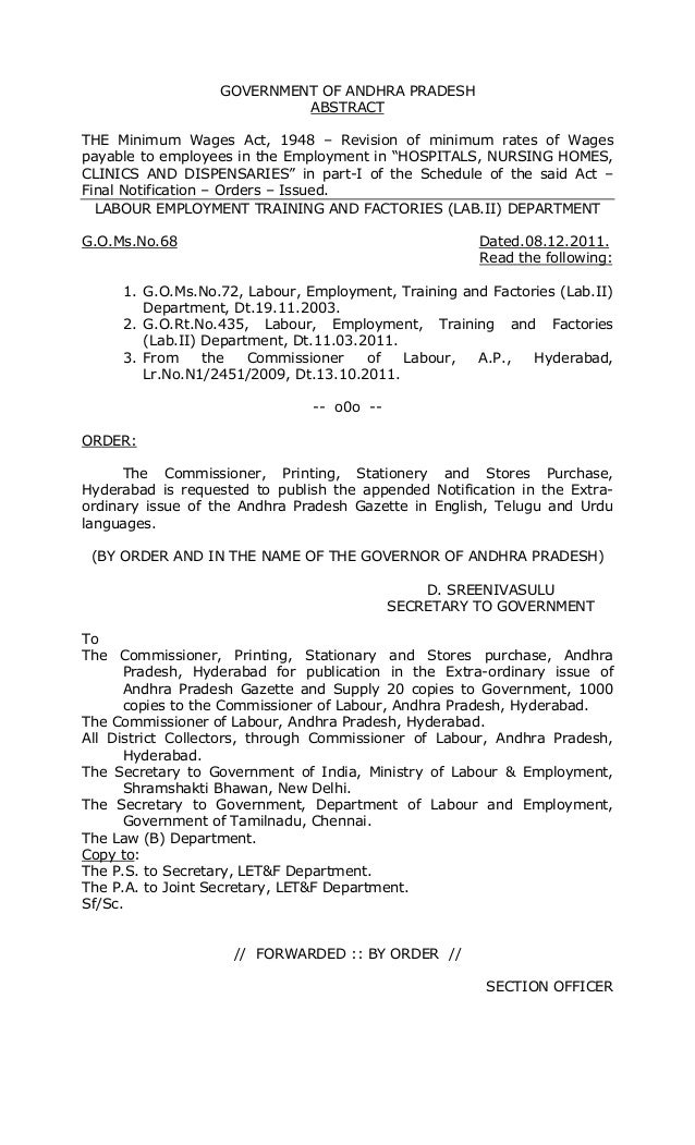 GOVERNMENT OF ANDHRA PRADESH                           ABSTRACTTHE Minimum Wages Act, 1948 – Revision of minimum rates of ...