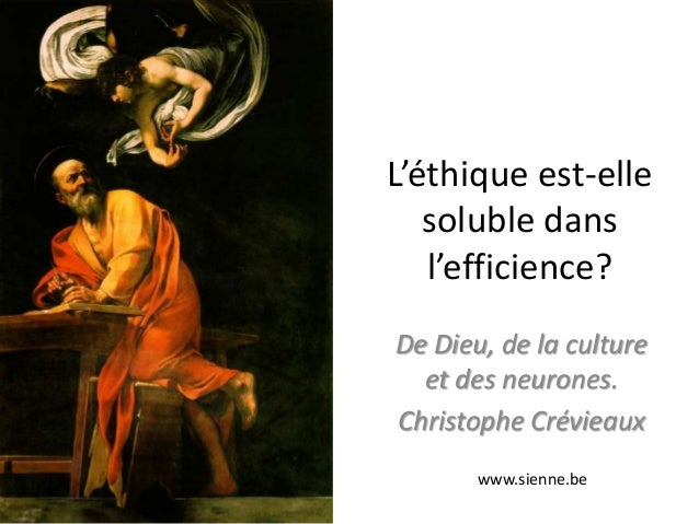 L'éthique est-elle   soluble dans   l'efficience?De Dieu, de la culture  et des neurones.Christophe Crévieaux       www.si...