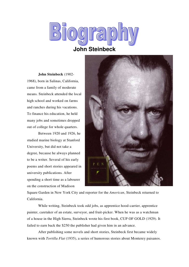 a biography of john steinbeck an american novelist