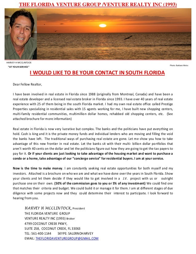 """THE FLORIDA VENTURE GROUP /VENTURE REALTY INC (1993) HARVEY H MCCLINTOCK """"AT YOUR SERVICE"""" Photo: Barbara Weiss I WOULD LI..."""