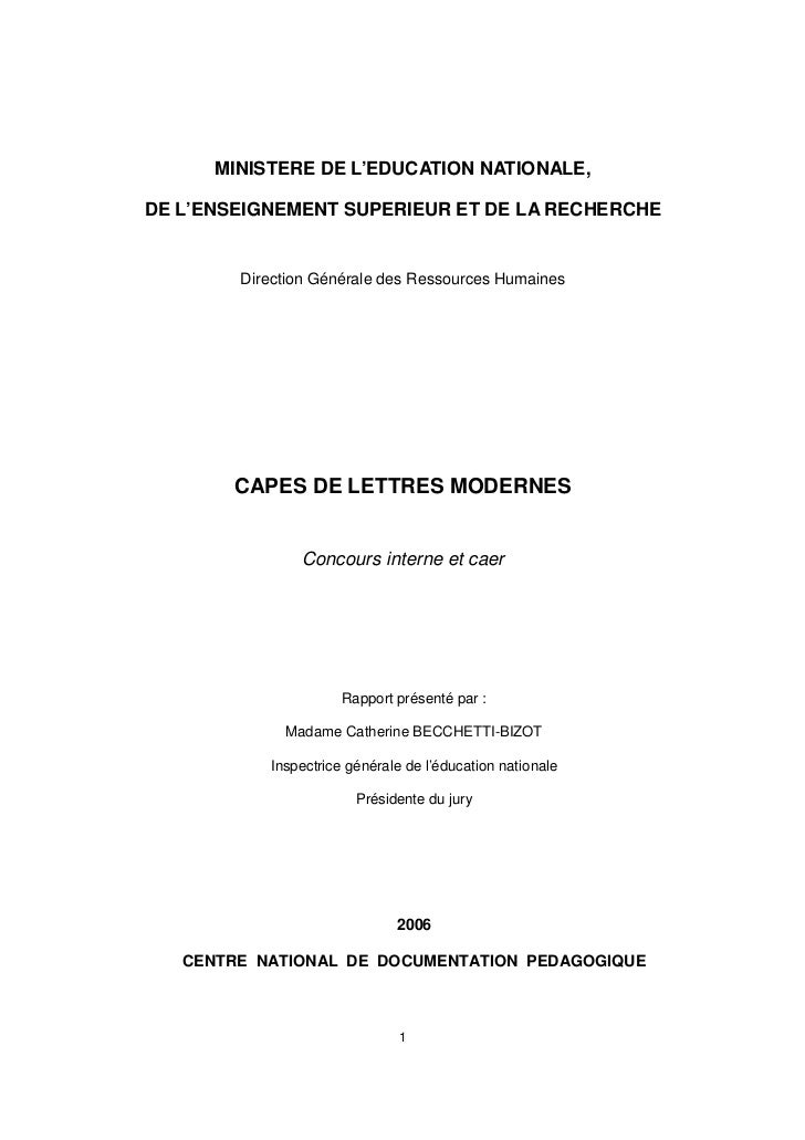 Rapport Capes interne 2006