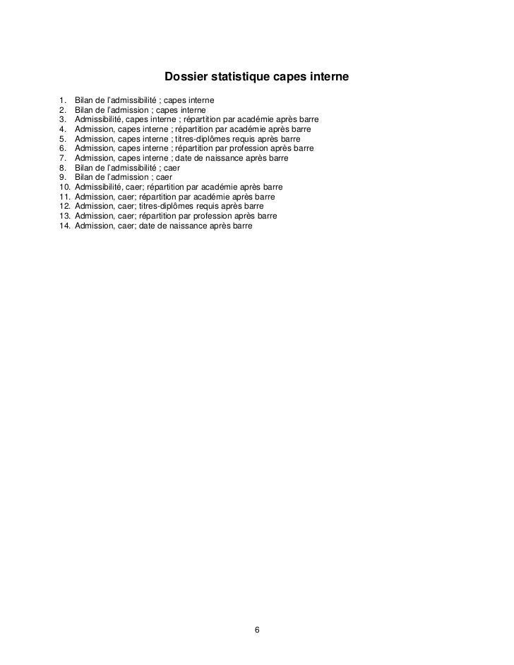 Dossier statistique capes interne1.    Bilan de l'admissibilité ; capes interne2.    Bilan de l'admission ; capes interne3...