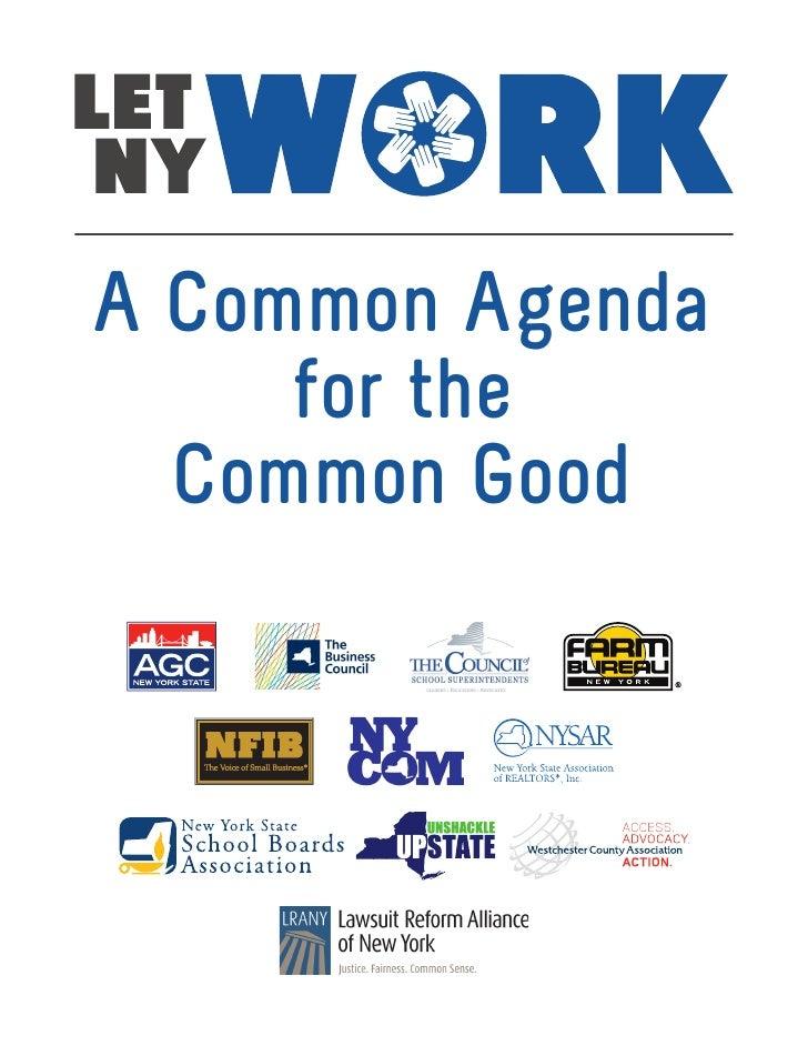 A Common Agenda     for the  Common Good