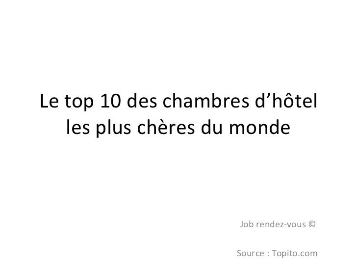 Les chambres d'hôtel les plus chères