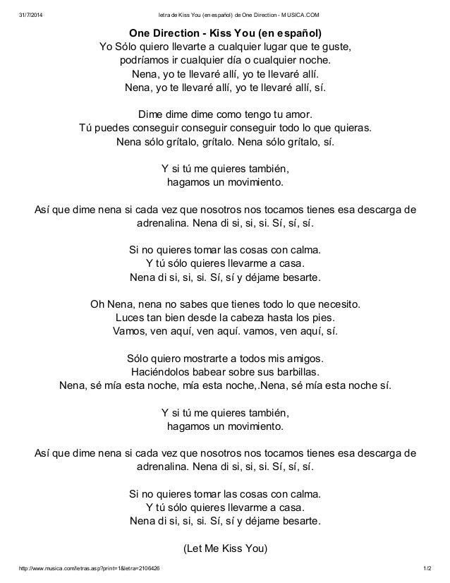 letra en espanol de one de: