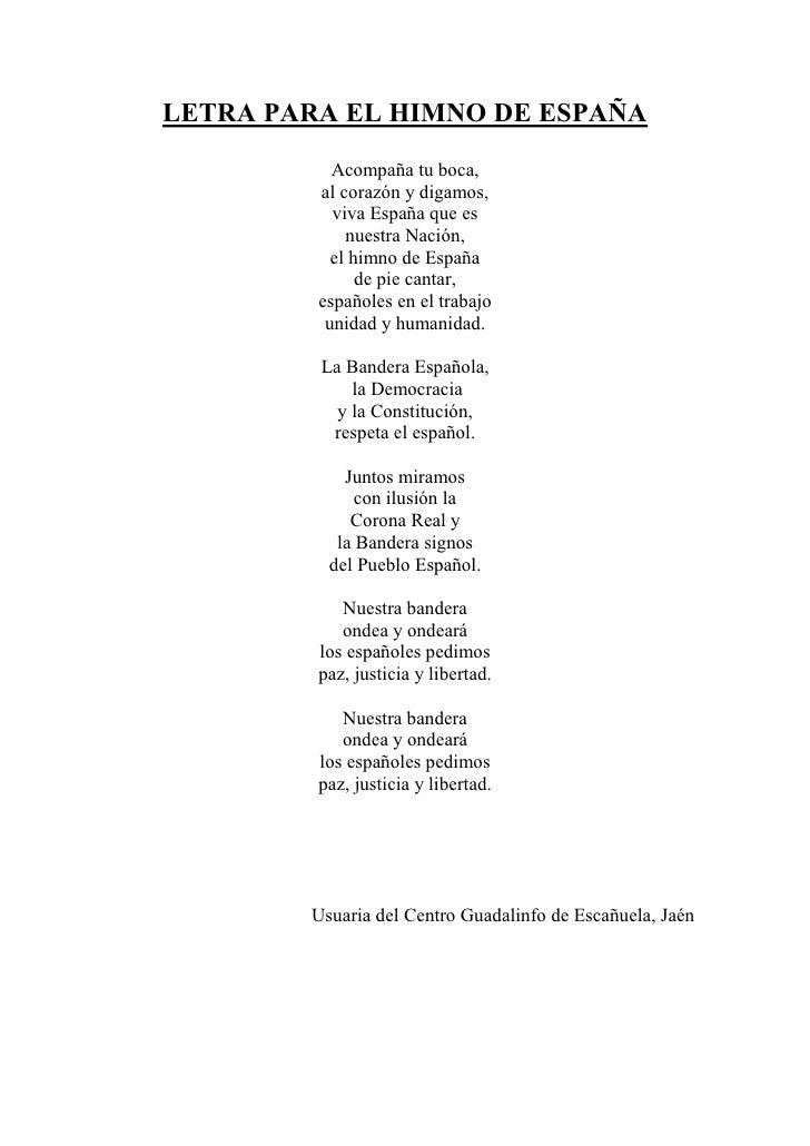 Letra para el Himno de España