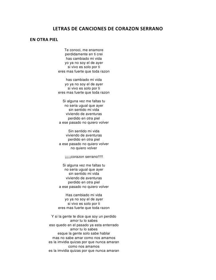 letras de canciones de corazon crudo: