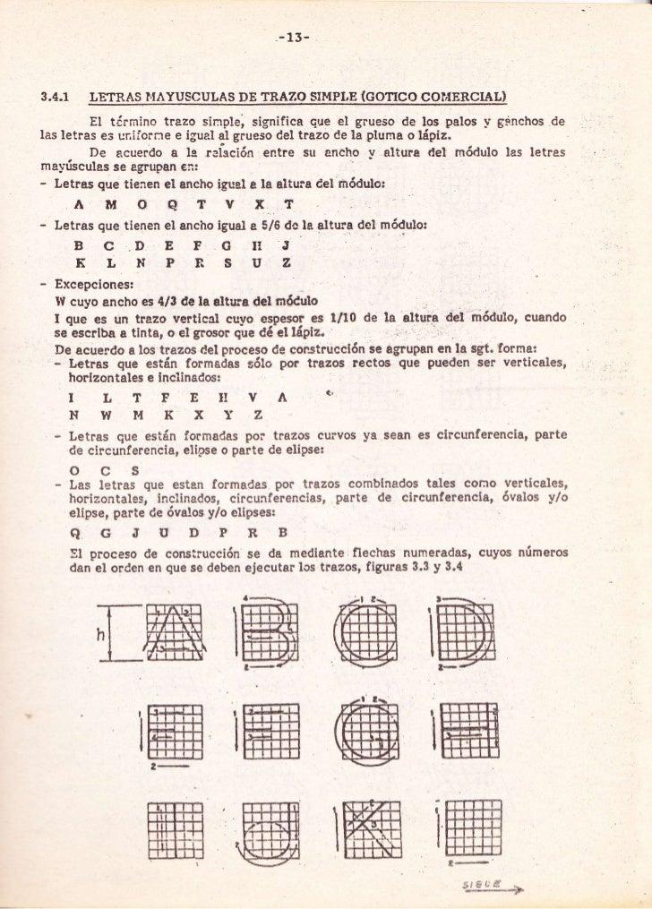 _13_3.4.1    LETRAS I.IÁYUSCULAS DE TRAZO S¡I.IPLE (GOTICO COIÍERCIAL)         El tirmino trazo sinple, significa que el  ...