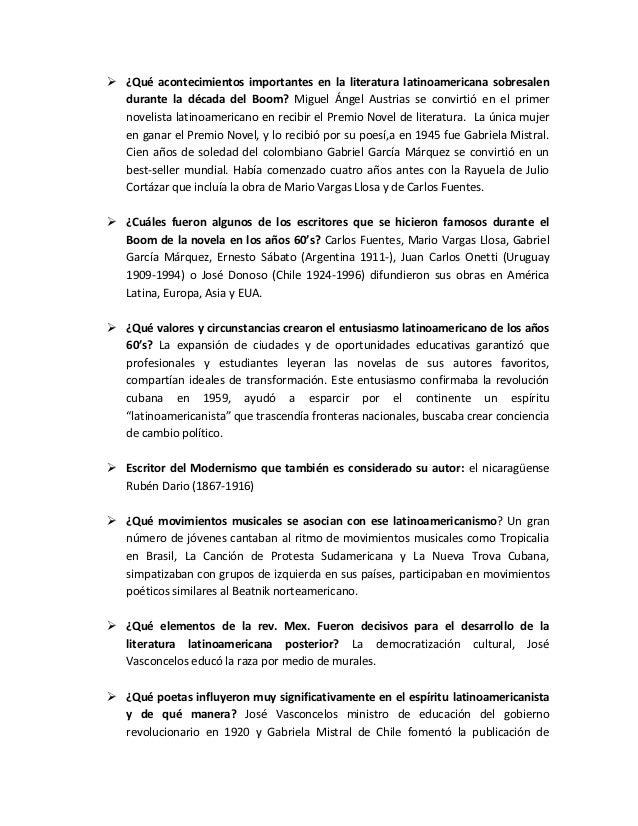  ¿Qué acontecimientos importantes en la literatura latinoamericana sobresalen  durante la década del Boom? Miguel Ángel A...