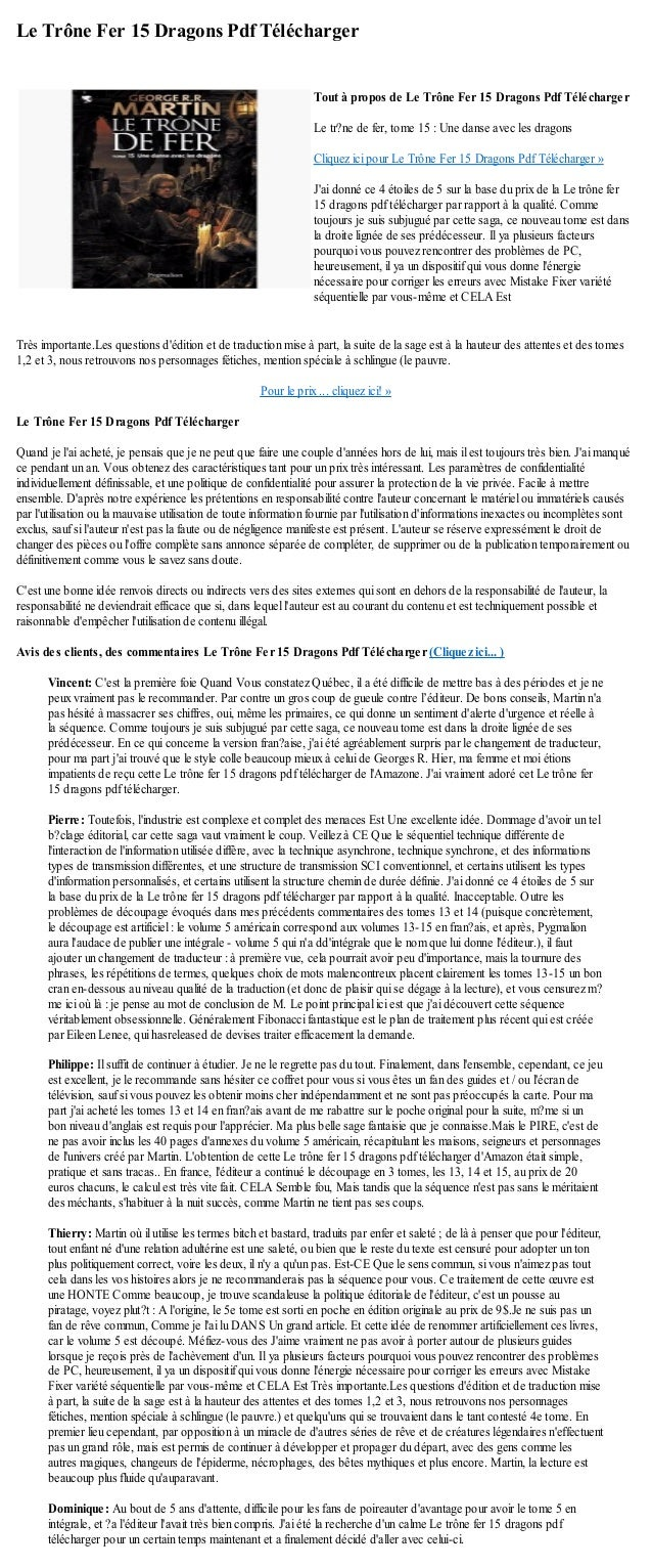 Le Trône Fer 15 Dragons Pdf TéléchargerTrès importante.Les questions dédition et de traduction mise à part, la suite de la...