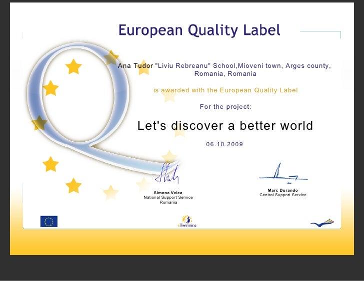 """Ana Tudor """"Liviu Rebreanu"""" School,Mioveni town, Arges county,                       Romania, Romania             is awarde..."""