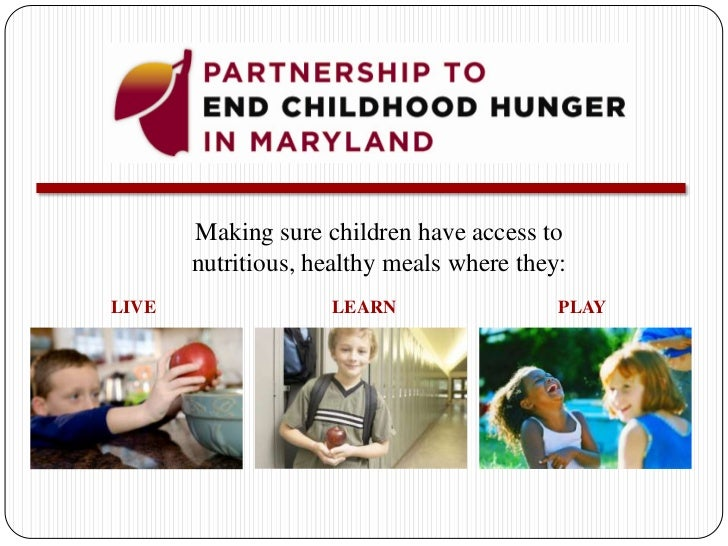 Making sure children have access to nutritious, healthy meals where they:<br />LEARN<br />PLAY<br />LIVE<br />