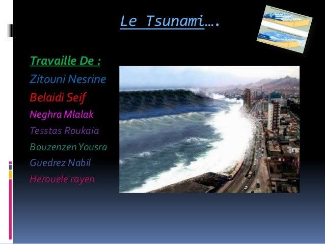 Le Tsunami….Travaille De :Zitouni NesrineBelaidi SeifNeghra MlalakTesstas RoukaiaBouzenzen YousraGuedrez NabilHerouele rayen