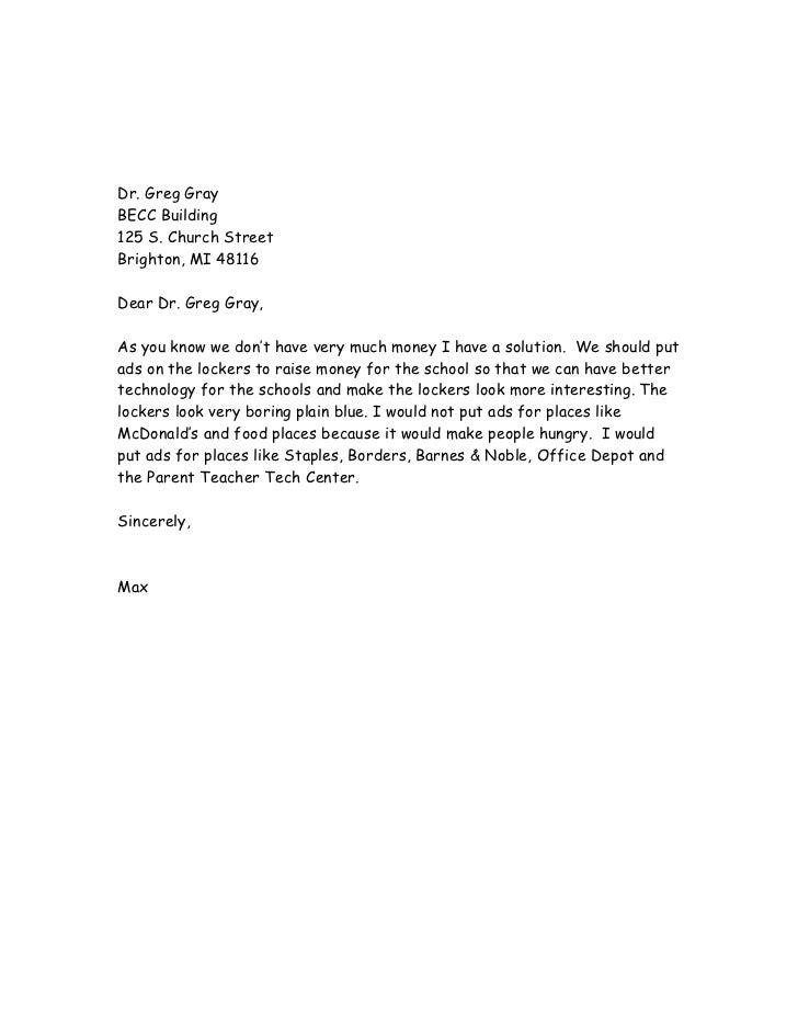 Persuasive writing letter