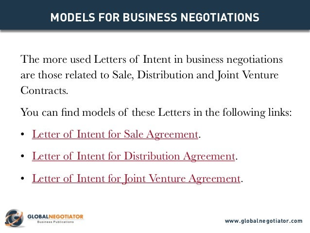 LETTER OF INTENT Models For Business Negotiations