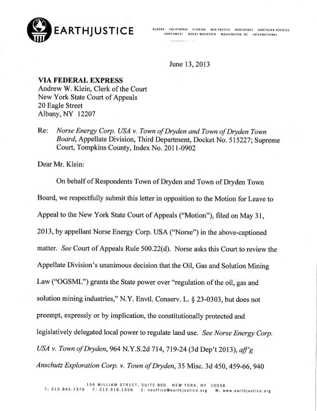 Dryden Ny Letter To Ny Court Of Appeals On Town Ban Case