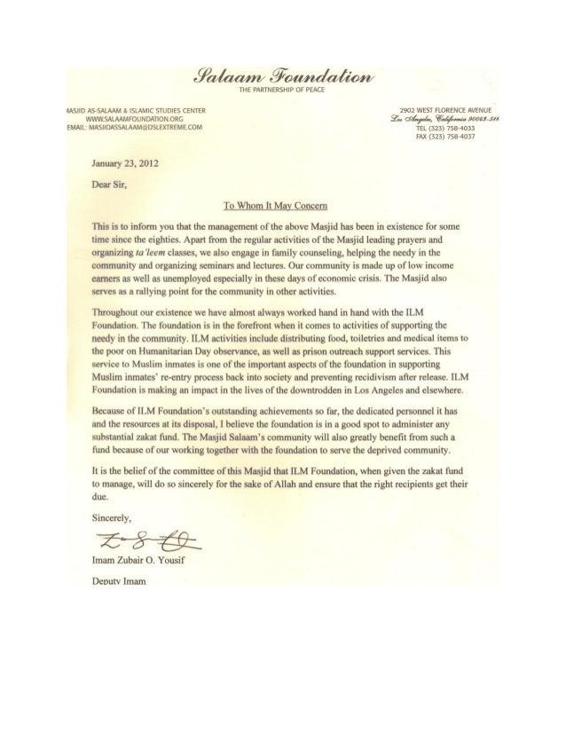 Masjid Salaam - Endorsement Letter - Los Angeles
