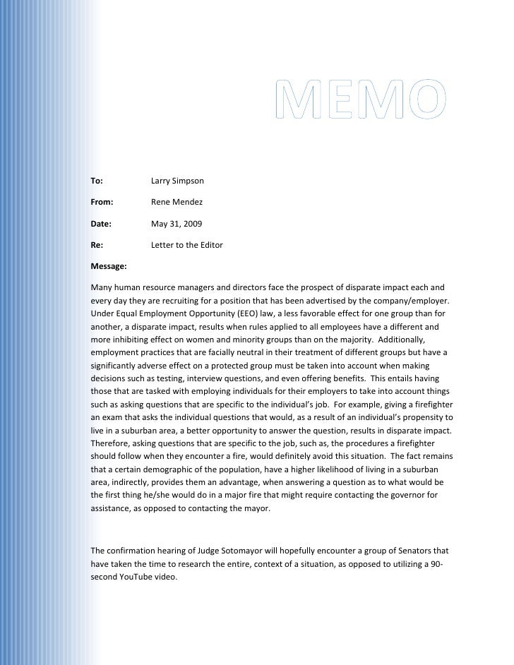 MEMO To:             Larry Simpson  From:           Rene Mendez  Date:           May 31, 2009  Re:             Letter to t...