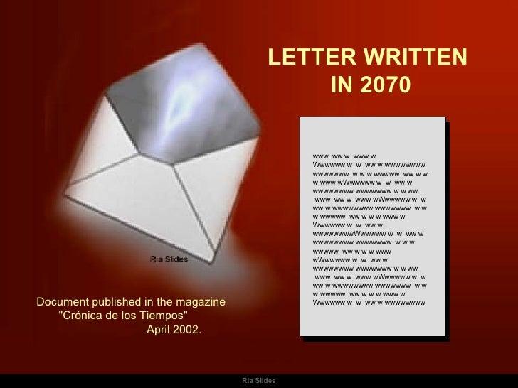 Letter Written In 2070