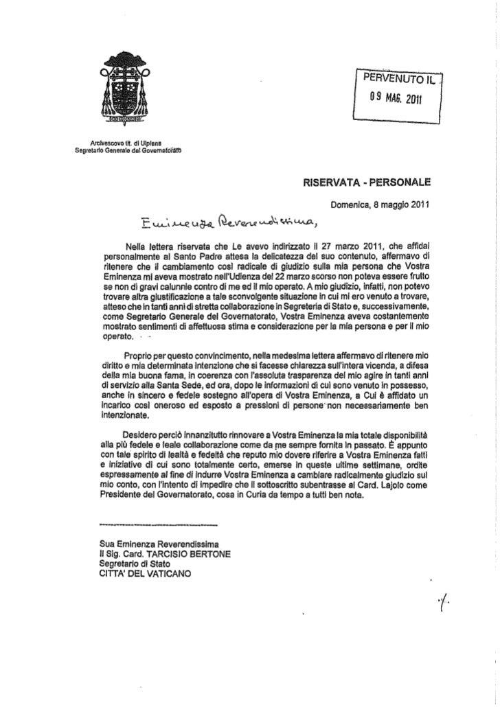 Lettera Viganò Bertone