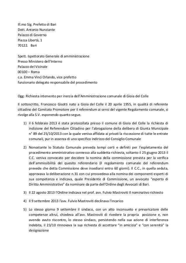 Ill.mo Sig. Prefetto di Bari Dott. Antonio Nunziante Palazzo di Governo Piazza Libertà, 1 70122. Bari Spett. Ispettorato G...