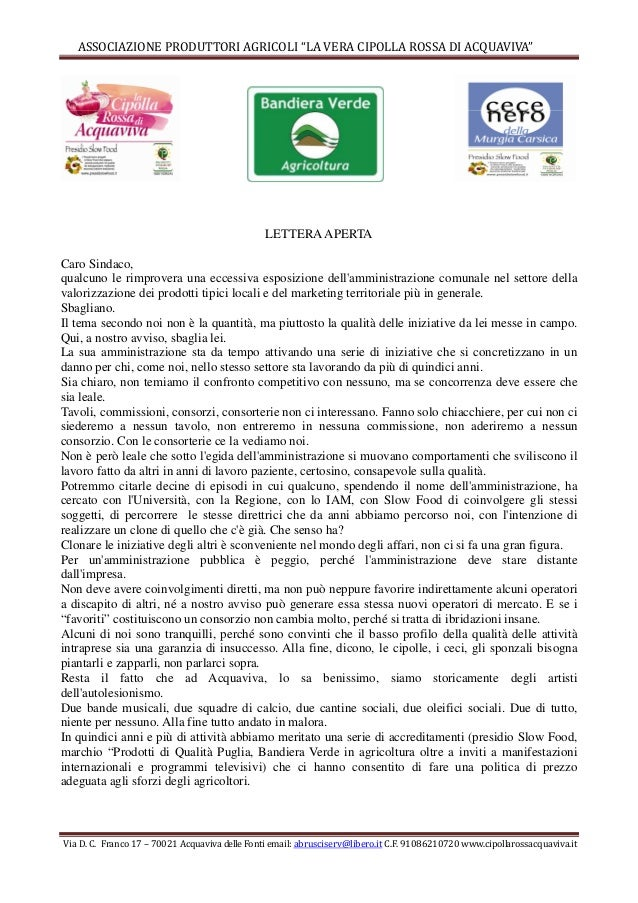 """ASSOCIAZIONE PRODUTTORI AGRICOLI """"LA VERA CIPOLLA ROSSA DI ACQUAVIVA"""" Via D. C. Franco 17 – 70021 Acquaviva delle Fonti em..."""