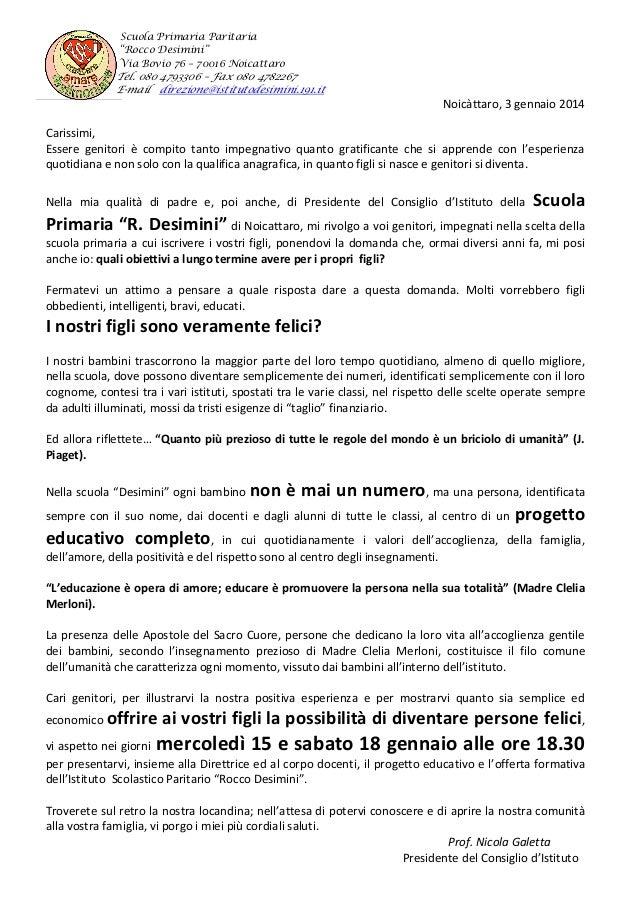 """Scuola Primaria Paritaria """"Rocco Desimini"""" Via Bovio 76 – 70016 Noicattaro  Tel. 080 4793306 – Fax 080 4782267 E-mail dire..."""