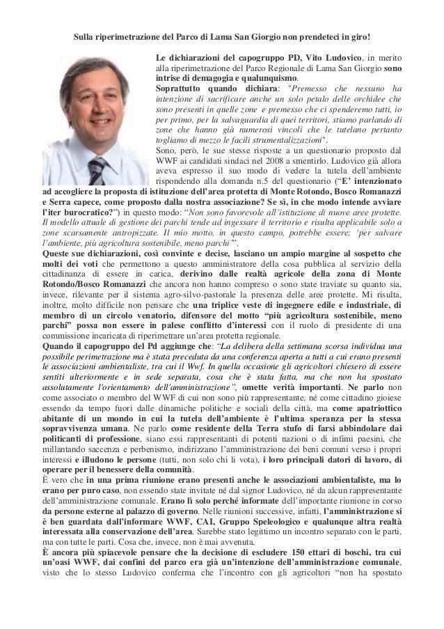 Sulla riperimetrazione del Parco di Lama San Giorgio non prendeteci in giro! Le dichiarazioni del capogruppo PD, Vito Ludo...