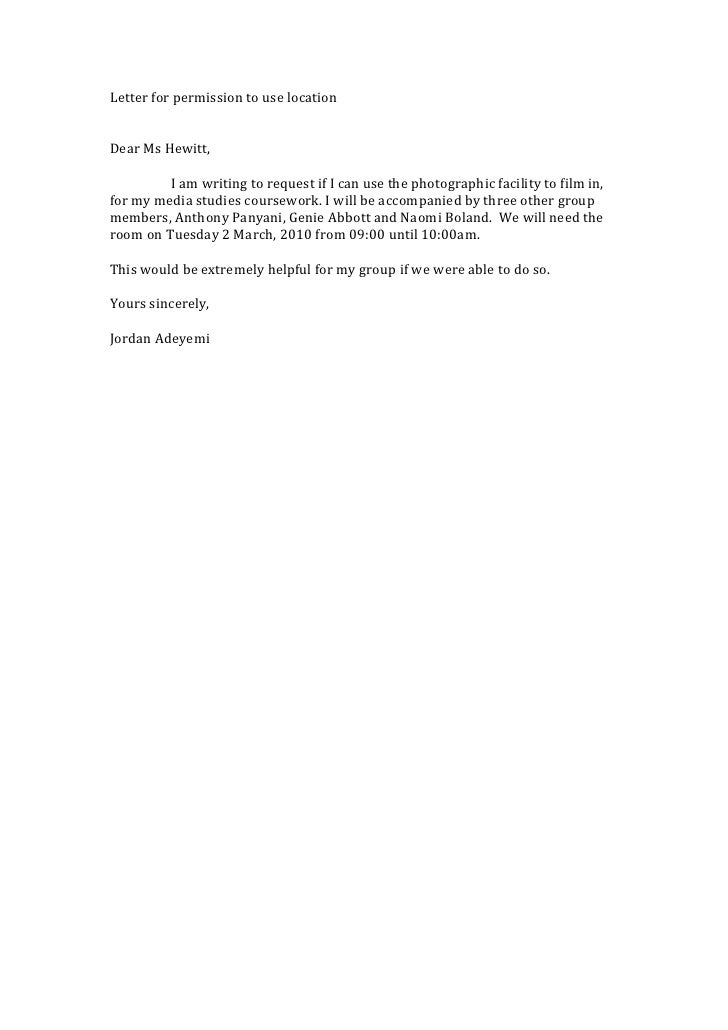 Letter For Permission To Use Location