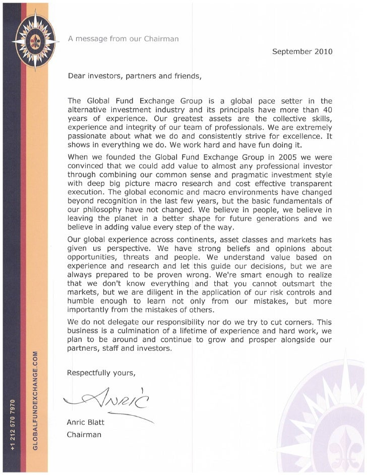 Letter from chairman