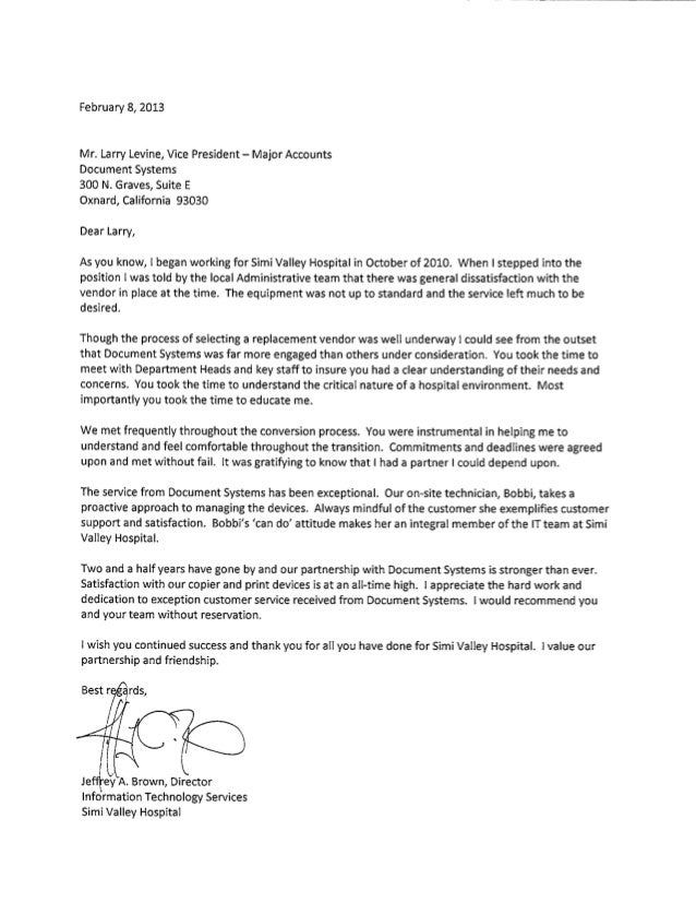 Letter of Recommendation from Simi Valley Hospital