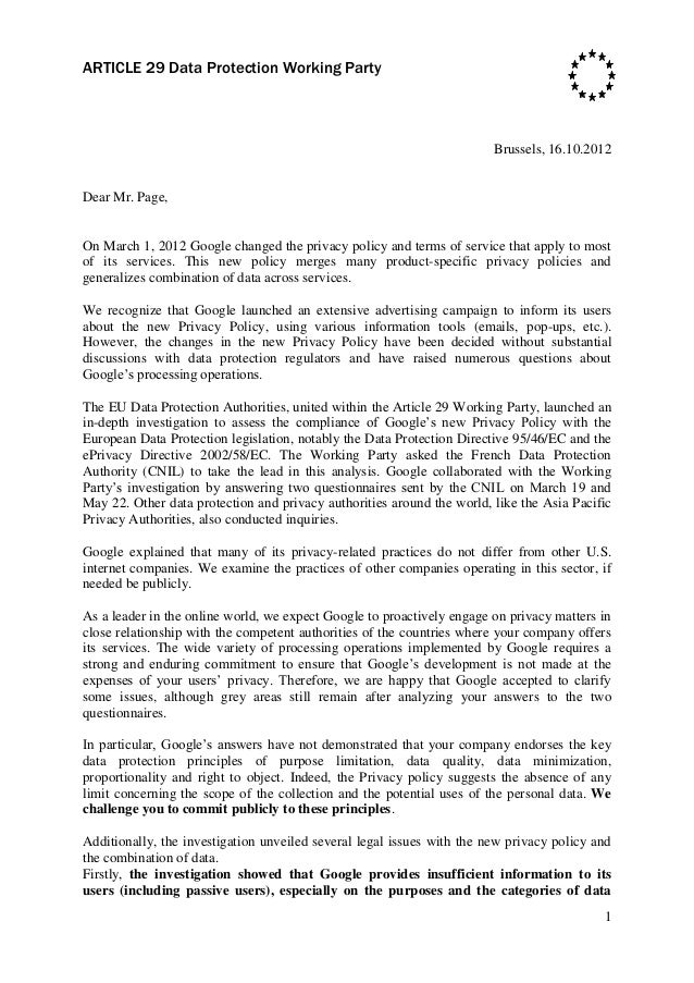 Letter from the_article_29_working_party_to_google_in_relation_to_its_new_privacy_policy